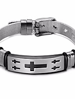 cheap -Men's Stylish / Plaited Loom Bracelet / Wide Bangle - Leather, Stainless Cross Stylish, Classic, European Bracelet Silver For Daily / Street