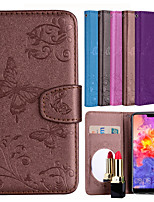 cheap -Case For Huawei P20 / P20 lite Card Holder / Flip / Pattern Full Body Cases Solid Colored / Butterfly Hard PU Leather for Huawei P20 / Huawei P20 Pro / Huawei P20 lite