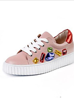 cheap -Women's Shoes Nappa Leather Summer Comfort Sneakers Flat Heel Round Toe White / Pink