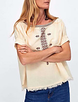 cheap -women's blouse - geometric round neck