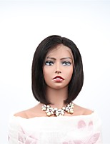 cheap -Remy Human Hair Full Lace Wig Brazilian Hair Straight Wig Bob Haircut 130% Women / Easy dressing / Natural Black Women's Mid Length Human Hair Lace Wig
