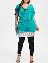 cheap -women's beach plus size blouse - solid colored v neck