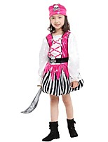 cheap -Pirate Outfits Girls' Halloween / Carnival / Children's Day Festival / Holiday Halloween Costumes Pink Solid Colored / Striped / Halloween Halloween