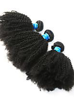 cheap -Brazilian Hair / Peruvian Hair Afro Curly Virgin Human Hair Natural Color Hair Weaves / Afro Kinky Braids 3 Bundles 8-26 inch Human Hair Weaves Machine Made Best Quality / 100% Virgin Natural Black