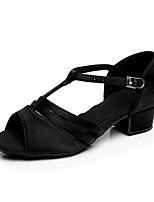 abordables -Chica Zapatos de Baile Latino Satén Tacones Alto Tacón Cubano Personalizables Zapatos de baile Dorado / Negro / Marrón