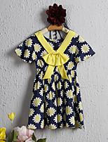 Недорогие -Дети / Дети (1-4 лет) Девочки Цветок солнца Цветочный принт С короткими рукавами Платье