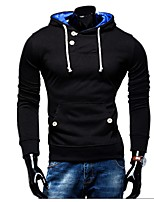 cheap -Men's Basic Hoodie - Solid Colored, Lace up
