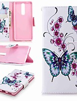 cheap -Case For Nokia Nokia 5.1 / Nokia 3.1 Wallet / Card Holder / with Stand Full Body Cases Butterfly Hard PU Leather for Nokia 8 / Nokia 6 2018 / Nokia 2.1