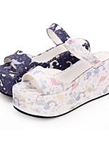 cheap -Lolita Shoes Sweet Lolita Dress Princess Lolita Wedge Heel Shoes Pattern 8 cm CM White / Purple For PU(Polyurethane)