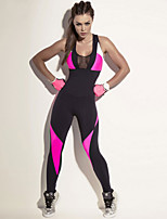 cheap -Women's Patchwork Jumpsuit - Black Sports Color Block Mesh Leggings Running, Fitness, Gym Activewear Quick Dry, Breathable, Compression High Elasticity