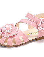 cheap -Girls' Shoes PU(Polyurethane) Spring & Summer Comfort Sandals Walking Shoes Flower / Magic Tape for Kids Beige / Pink