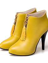 cheap -Women's Shoes PU(Polyurethane) Fall & Winter Fashion Boots / Bootie Boots Stiletto Heel Pointed Toe Booties / Ankle Boots Tassel Black / Yellow / Red / Party & Evening