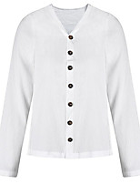Недорогие -Жен. Рубашка V-образный вырез Однотонный