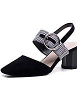 cheap -Women's Shoes Suede Spring & Summer Comfort Heels Chunky Heel Black / Almond