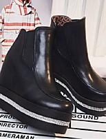 baratos -Mulheres Sapatos Couro Ecológico Outono & inverno Coturnos Botas Salto Plataforma Branco / Preto
