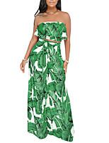 cheap -Women's Boho / Street chic Set - Floral, Ruffle / Print Pant