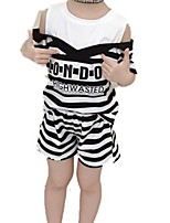 Недорогие -Дети Девочки Однотонный / Полоски С короткими рукавами Набор одежды