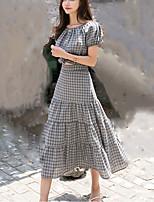 abordables -Mujer Chic de Calle Manga de la linterna Camisa - Cuadrícula Falda
