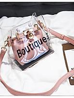 cheap -Women's Bags PVC(PolyVinyl Chloride) Shoulder Bag Pattern / Print Black / Blushing Pink / Silver