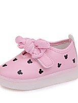 cheap -Girls' Shoes PU(Polyurethane) Spring & Summer Comfort Sneakers Walking Shoes Bowknot / LED for Kids White / Black / Pink