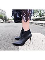 Недорогие -Жен. Обувь Наппа Leather Весна Туфли лодочки Ботинки На шпильке Заостренный носок Пряжки Белый / Черный / Оранжевый