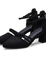 baratos -Mulheres Sapatos Couro Ecológico Verão Conforto Saltos Salto Robusto Preto / Cinzento / Amêndoa