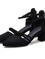 cheap -Women's Shoes PU(Polyurethane) Summer Comfort Heels Chunky Heel Black / Gray / Almond