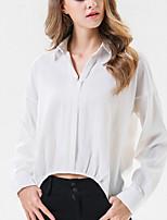 Недорогие -Жен. Пэчворк Блуза Классический Однотонный