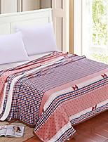 Недорогие -Коралловый флис, Активный краситель Полоски / Геометрический принт Хлопок / полиэфир одеяла