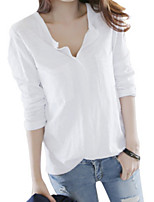 cheap -women's cotton t-shirt - solid colored v neck