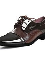 Недорогие -Муж. Кожа Осень Удобная обувь Туфли на шнуровке Черный / Коричневый