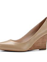 Недорогие -Жен. Обувь Наппа Leather Лето Удобная обувь Обувь на каблуках Туфли на танкетке Черный / Миндальный