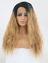 cheap -Synthetic Lace Front Wig Wavy Blonde Side Part Synthetic Hair Adjustable / Heat Resistant Blonde Wig Women's Long Lace Front Black / Gold / Yes