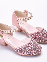cheap -Girls' Shoes Faux Leather Spring &  Fall Flower Girl Shoes / Tiny Heels for Teens Heels for Silver / Pink