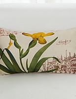 abordables -1 PC Algodón / Lino Monograma, Estampado Floral Flor