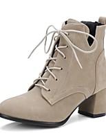 Недорогие -Жен. Обувь Замша Наступила зима Удобная обувь Ботинки На толстом каблуке Черный / Верблюжий / Хаки