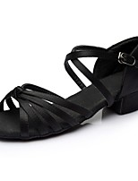 Недорогие -Жен. Обувь для латины Сатин Сандалии / На каблуках Планка Толстая каблук Персонализируемая Танцевальная обувь Черный