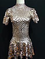 cheap -Jazz Dresses Women's Performance Spandex Paillette Short Sleeve Dress
