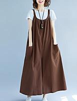 cheap -women's jumpsuit - solid colored wide leg strap