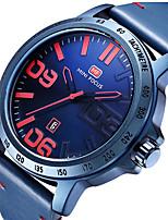 baratos -MINI FOCUS Homens Relógio de Pulso Calendário / Relógio Casual Couro Legitimo Banda Luxo / Minimalista Preta / Azul / Marrom