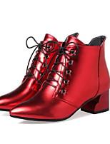 Недорогие -Жен. Обувь Полиуретан Весна / Осень Модная обувь Ботинки На толстом каблуке Заостренный носок Ботинки Белый / Черный / Красный