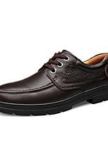 Недорогие -Муж. Наппа Leather Весна / Осень Удобная обувь Туфли на шнуровке Черный / Коричневый