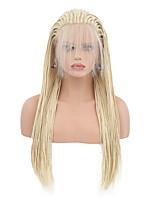 Недорогие -Синтетические кружевные передние парики Матовое стекло Блондинка тесьма Искусственные волосы Жаропрочная Блондинка Парик Жен. Длинные Лента спереди / Да