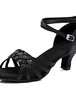 Недорогие -Жен. Обувь для латины Сатин Кроссовки Кубинский каблук Персонализируемая Танцевальная обувь Черный