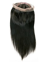 cheap -Brazilian Hair 360 Frontal Straight Free Part Swiss Lace Human Hair Women's Best Quality / New Arrival / 100% Virgin Christmas / Christmas Gifts / Wedding