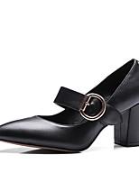 Недорогие -Жен. Обувь Наппа Leather Лето Туфли лодочки Обувь на каблуках На толстом каблуке Черный / Миндальный