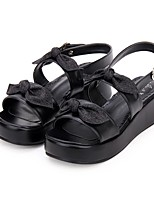 cheap -Lolita Shoes Gothic Lolita Dress Princess Lolita Wedge Heel Shoes Solid Color 5 cm CM White / Black For PU(Polyurethane)