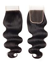 Недорогие -Fulgent  Sun Бразильские волосы / Естественные кудри 4x4 Закрытие Волнистый Бесплатный Часть Швейцарское кружево Натуральные волосы Жен. Лучшее качество / Кружевное закрытие