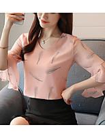 economico -Blusa Per donna Vintage / Essenziale Con balze, Tinta unita