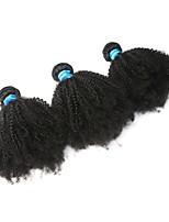 Недорогие -3 Связки Бразильские волосы Кудрявый Не подвергавшиеся окрашиванию Человека ткет Волосы / Afro Kinky плетенки 8-26 дюймовый Ткет человеческих волос Машинное плетение Лучшее качество / 100